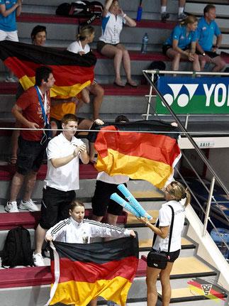 Anfeuerung vom Deutschen Team