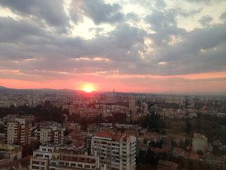 Sonnenuntergang aus unserem Hotelzimmer