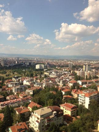 Blick von unserem Hotelzimmer auf die Stadt