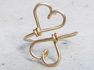 DOPPELHERZ Ring aus edlem Gold Filled Draht
