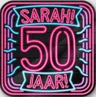 Neon Huldeschild € 4,99 Sarah 50x50 cm