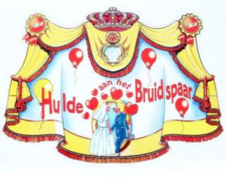 Kroonschild € 2,00 Hulde aan het bruidspaar 47x33cm