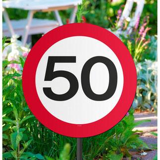 Tuinbord 50 jaar. € 2,95 Diameter: 26 cm. Stok: 44 cm