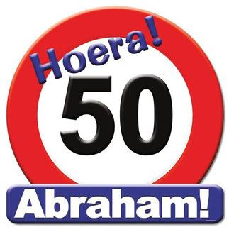 Deurbord 50x50 cm € 4,99 Hoera Abraham!