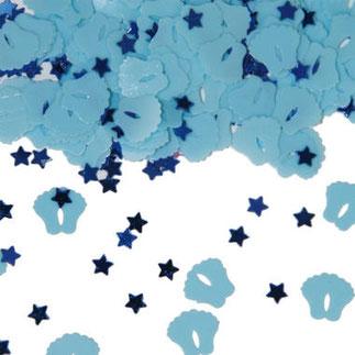 Tafelconfetti voetjes en sterretjes blauw € 1,75