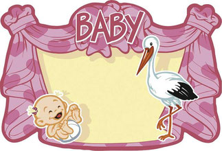 Huldeschild Baby roze € 2,00