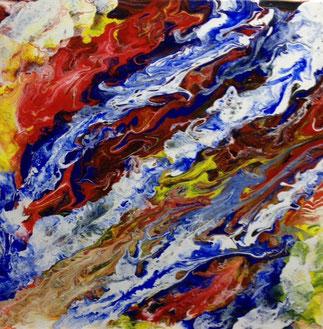 Feuer und Eis, Acryl auf Leinwand 40x40 cm
