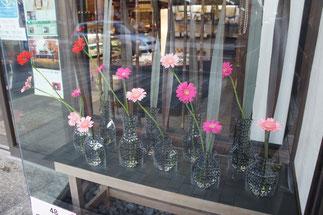 こちらのお店のショーケースには、秋のお花が隊列を組んでいました