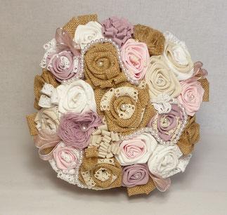 Bouquet de fleurs pour Mariage en Toile de Jute et Tissu