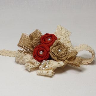 Bracelet de fleurs en tissu pour mariée