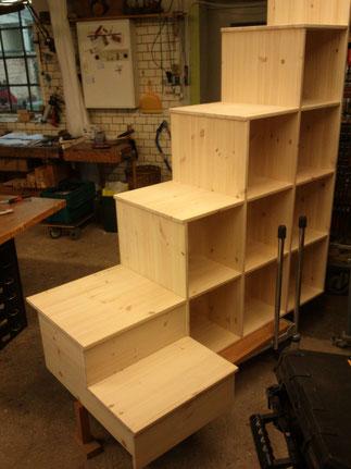 hochbett arbeiten in holz. Black Bedroom Furniture Sets. Home Design Ideas