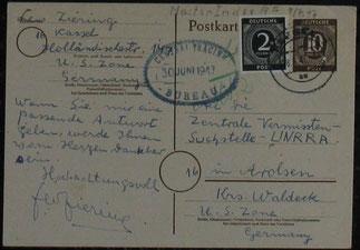 Beleg für Leos verzweifelte Suche nach dem Krieg: Postkarte 1947