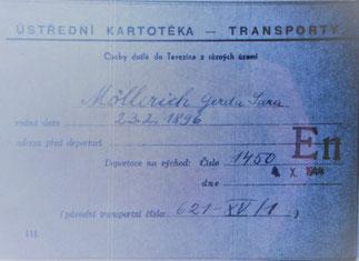 Transportkarte GERDA Theresienstadt - Auschwitz