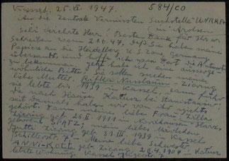 Der handschriftliche Text und die Fragen nach Verbleib seiner Frau, seiner Tochter, seiner Schwester und seiner Mutter