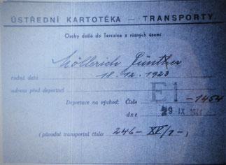Transportkarte GÜNTER Theresienstadt - Auschwitz
