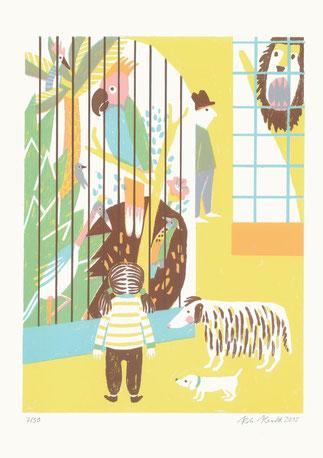 Heike Herold, Zoo, Siebdruck, Vogelkäfig, Vögel, Illustration, Grafik