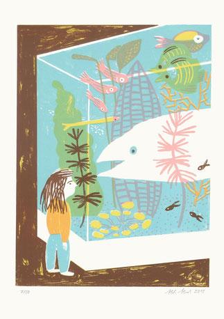 Heike Herold, Zoo, Siebdruck, Aquarium, Fische, Illustration, Grafik