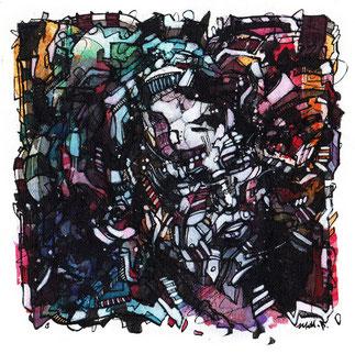 Matt.B, mattb, peinture, acrylique, encre, femme, portrait, graphique, ink, face, painting  , painting, acrylic, ink, woman, nude, graphic