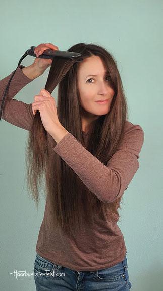 lange Haare glätten