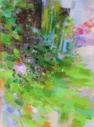 UN PETIT COIN DE JARDIN (huile sur toile) 40 x30 cm JF.Millan (collection privée)