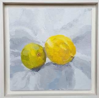 Lime and Lemon LaL01o 20.5x20.5cm oil on Canvas board, Framed