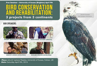 "Detail of the first poster of the International Seminar of ""Ornithology of Conservation"" of Biotropical Institut in the United Kingdom"