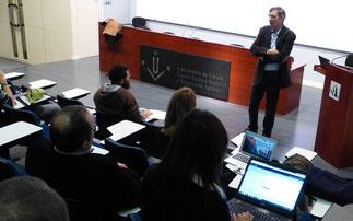 Le premier séminaire a été répété à l'Université de Lleida. Dans la photo conférence inaugurale du Dr Delfí Sanuy de la UdL