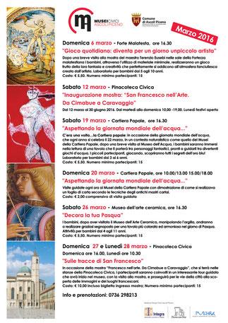"""Gli eventi di Marzo del circuito dei Musei Civici di Ascoli Piceno, composto dalla Pinacoteca Civica, la Galleria d'Arte Contemporanea """"O. Licini"""",  il Museo dell'Arte Ceramica, la Cartiera Papale"""