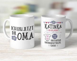 Tasse für Oma mit Geburtsdaten des Enkels