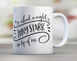 Tasse mit Spruch ideal weight tony stark