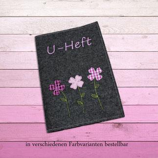 U-Hefthülle Wollfilz bestickt Blumen und Name