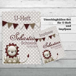Umschlaghüllen Set für U-Heft und Impfpass Löwe