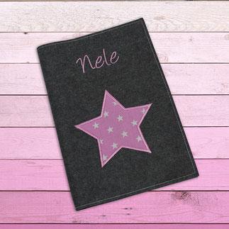 U-Hefthülle dunkelgrau Filz Stern rosa