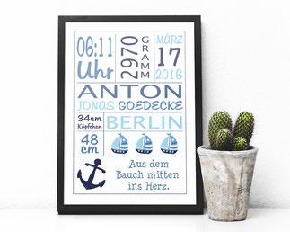 Bild mit Geburtsdaten maritim