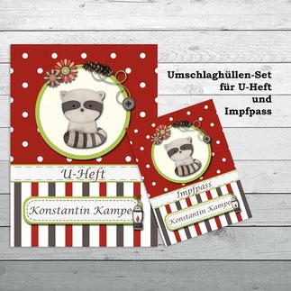 Umschlaghüllen Set für U-Heft und Impfpass Waschbär