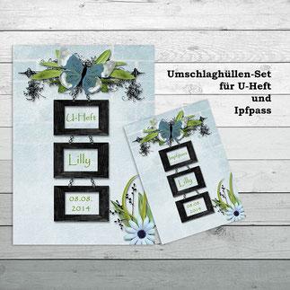 Umschlaghüllen für U-Heft und Impfpass Black & Blue