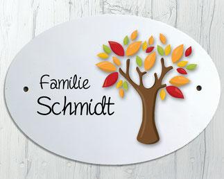 Namensschild Haustür Baum Familie Herbst
