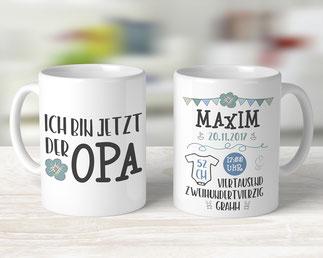 Tasse mit Geburtsdaten