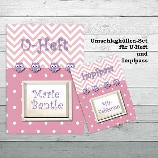 Umschlaghüllen für Impfpass und U-Heft Eulen rosa