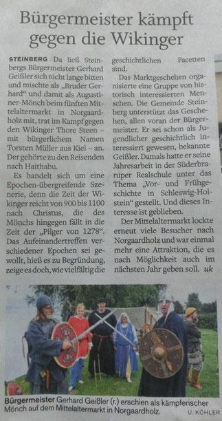 """Der """"5. kleiner Mittelaltermarkt in Norgaardholz"""" in der """"Flensburger Tageblatt"""" vom 16. August 2016"""
