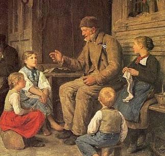 """""""Großvater erzählt eine Geschichte"""" von Albert Anker"""