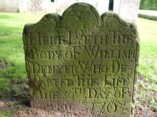 "Sussex monumental inscription: ""Here Lyeth the Body of William Denyer who Departed this Life the 30th day of April 1705"" located at St James Stedham, churchyard"