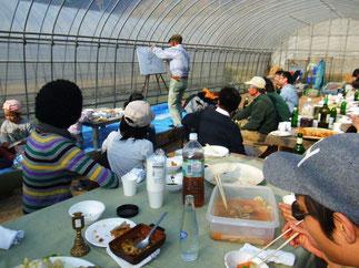お食事後はミニ有機農業講座。有機の優位性を説明。