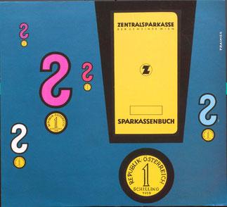 Sparkassenbuch Werbung  1956. Plakat der Sparkasse.