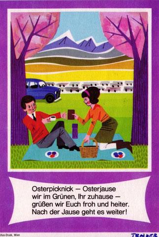 Verkehrssicherheits-Kampagne Osterverkehr 1966 - Postkarte des ARBÖ.