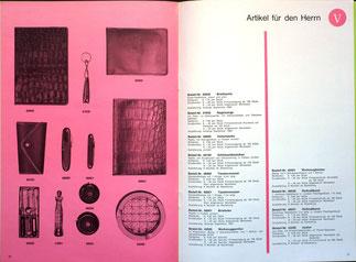 Weltspartagsgeschenke der Sparkasse. Angebote des Sparkassenverlages 1964. Artikel für den Herren.