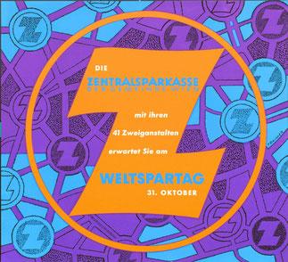 Zentralsparkasse Logo. Weltspartags-Plakat 1961 von Heinz Traimer.
