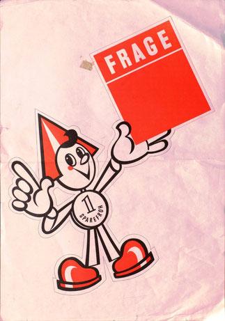 Sarefroh: Frage (Platz zum Frage einfügen). Plakat für eine Filiale der Sparkasse. Um 1970.