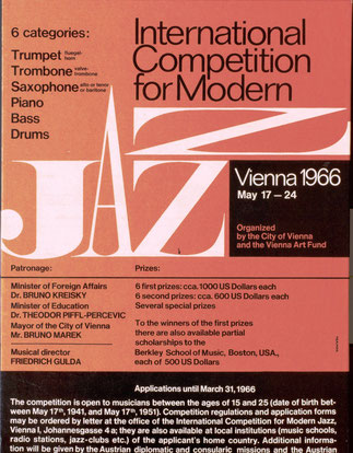 International Competition for modern Jazz. Vienna 1966.