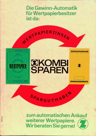 Kombisparen der Z Zentralsparkasse. Wertpapiere und Sparguthaben. Aufsteller für Filialen von Heinz Traimer um 1963